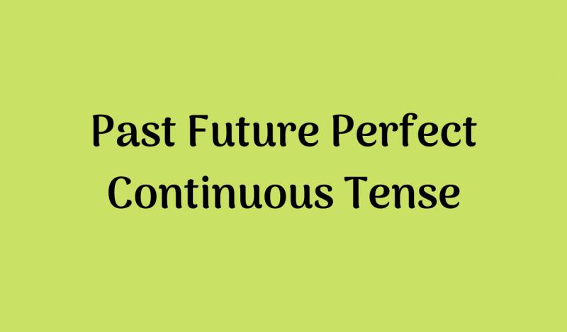 Past Future Perfect Continuous Tense