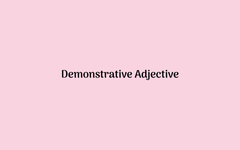 Demonstrative Adjective