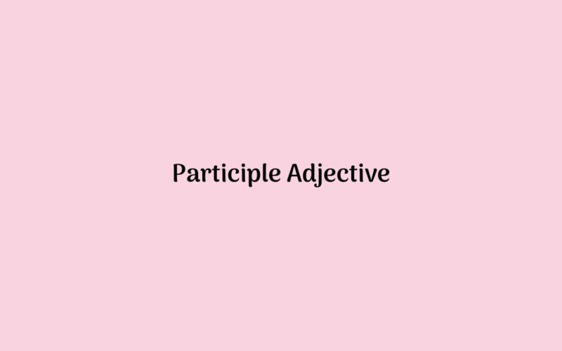 Participle Adjective